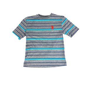 US Polo Assn Boys Blue & Gray Striped Tee Sz 14/16
